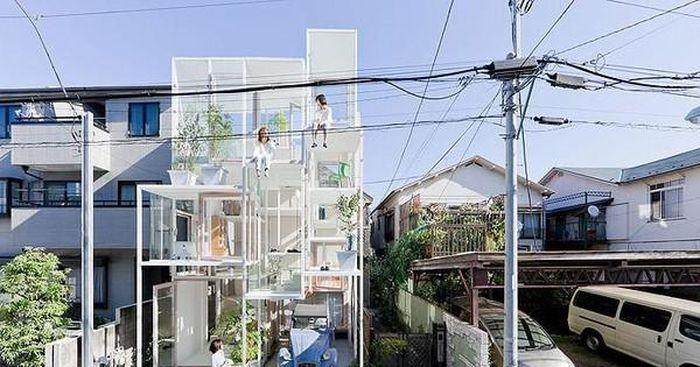 Lạ lùng ngôi nhà tầng trong suốt 'nhìn xuyên thấu' mọi sinh hoạt bên trong